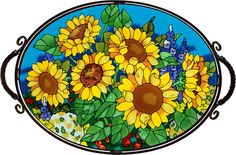 Hand-painted beveled glass tray - Sunflower Field - Joan Baker Designs