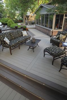 AZEK Decking Harvest Collection in Brownstone with Sedona accents and AZEK in-deck lights.