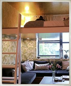 Small spaces: Loft beds, Tropical wallpaper from Cole and Son
