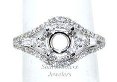 14K White Gold Diamond Engagement Ring Setting  Total Gold Weight - 3.6 grams  Total Diamond Weight - 0.47ct (Round & Emerald Cut)  Size - 6.5