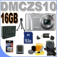 Panasonic Lumix DMC-ZS10 14.1 MP Digital Camera with 16x Wide Angle Optical Image Stabilized Zoom and Built-In GPS Function (Silver) Accessory Saver 16GB Bundle by Panasonic. $319.19. This Kit Includes: 1- Panasonic Lumix DMC-ZS10 14.1 MP Digital Camera (Silver) Brand New w/Supplied Manufacturer Accessories 1- Rechargeable Lithium Ion DMW-BCG10 Replacement Battery(Shoot Longer and Stronger!) 1- 16GB SDHC Secure Digital Memory Card (Dont Miss a Memory!) 1- USB SD Memory Card...
