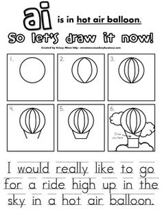 FREE Draw It Now Hot Air Balloon Literacy Center-Easy to P