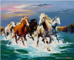 Horse art, painting of horses running in water.  Paisaje 28