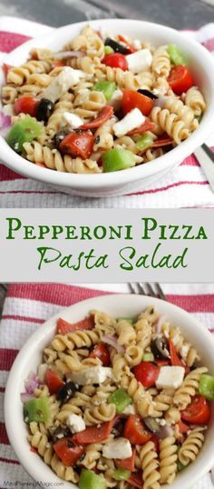 All the flavors of a slice of  supreme pizza are in this Pepperoni Pizza Pasta Salad! It's healthier and make-ahead too! | Recipe at MealPlanningMagic.com