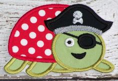 Pirate Turtle No Sew Or Sew On Fabric Iron On Applique Custom Patch by @daisydoodleemb   Size: width 3.92 inches height 2.85 inches (9.96 x 7.24cm)  Iron on/sew on appliques are perfect for jeans, t-shirts, tote bags, ha