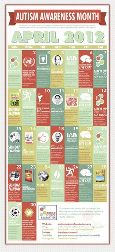 Autism Science Foundation has a great WAAD/Autism Awareness Month calendar. Awesome call to action :-))