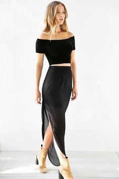 Silence + Noise Ribbed Asymmetrical Midi Skirt - Urban Outfitters