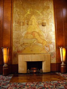 Fireplace on the Queen Mary