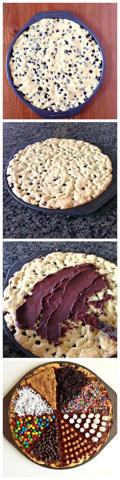 Cookie Pizza | 23 Life-Changing Ways To Eat Chocolate Chip Cookies.... These look soooooo good
