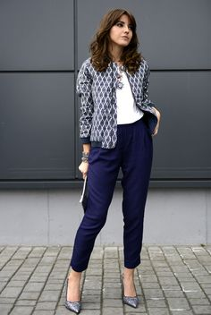 spring / summer - street chic style - business casual - office wear - work outfit - fall outfit ideas - spring outfit ideas - navy crop pants + glitter stilettos + navy pattern print bomber jacket + nude clutch + statement necklace