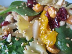 Spinach, Chicken and Bowtie Pasta Salad looks amazing but would sub everything to be gluten free