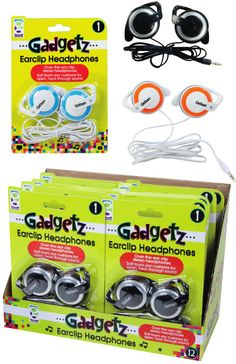 Gadgetz Earclip Headphones Case Pack 12
