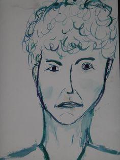 Blitzportrait meiner damaligen Kunstlehrerin, gemalt mit Wasserfarbe; ca. 1993/94