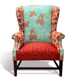 The Amber Wingback Chair - Redressed vintage with coastal flair. via Bellish Limited Unique Swanky Chairs, via Etsy