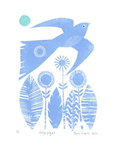 High Flyer by jane ormes, printmaking, screen, texture, bird, nature, blue, flowers, print, illustration, pattern