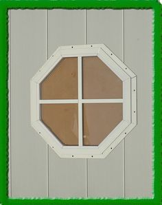 This octagon shed window will add a dramatic effect to the facade of your shed, playhouse, or barn. Aluminum frame w/ safety glass. Available in white or brown.