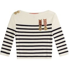 Hilfiger Collection Cropped Wool Pullover (4.410 ARS) ❤ liked on Polyvore featuring tops, sweaters, multicolored, white wool sweater, striped crop top, white long-sleeve crop tops, military sweater and long-sleeve crop tops