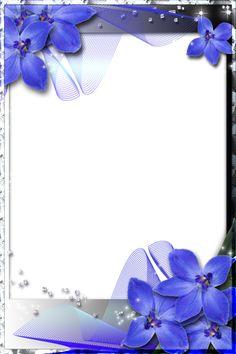 Beautiful Transparent Frame with Blue Orchids - Orchideen Frame Border Design, Boarder Designs, Framed Wallpaper, Flower Wallpaper, Picture Borders, Photo Maker, Boarders And Frames, Wedding Album Design, Birthday Frames
