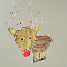 Funny Rudolph the Red Nosed Reindeer Stained Glass by FiveSparrows, $18.00
