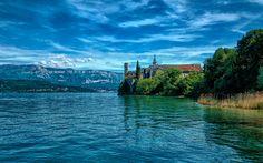 壁紙をダウンロードする サンピエール-ド-Curtille, 夏, 古い要塞, 湖, 山々, フランス, Hautecombe