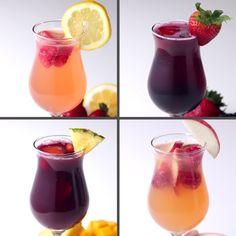 Sangria 4 Ways - -You can find Sangria and more on our website.Sangria 4 Ways - - Snacks Für Party, Party Drinks, Cocktail Drinks, Fun Drinks, Alcoholic Drinks, Beverages, Baby Shower Cocktails, Liquor Drinks, Bourbon Drinks