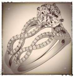 Infinity Bridal Set: Engagement Ring & Matching Wedding Ring