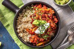 Chilli sin carne et riz cargo Recette Guacamole, Tostadas, Tacos, Paella, Avocado, Curry, Veggies, Fresh, Dinner