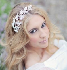 With it being so popular now for a bride with long hair, to wear it down for the wedding; this makes a really beautiful statement headpiece. Bridal headdress wedding headband bridal by CorrineSmithDesign, Wedding Hair Down, Wedding Hair Pieces, Wedding Hair And Makeup, Wedding Beauty, Dream Wedding, Wedding Headdress, Headpiece Wedding, Bridal Headpieces, Wedding Veils