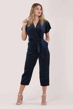 Short sleeve Wrap V neck Tie at the front Soft velvet Polyester Made in London Dusk To Dawn collection Code: Navy Machine wash or Dry clean Cool cycle Iron low heat Do not bleach Do not tumble dry Velvet Jumpsuit, Dusk To Dawn, Short Sleeves, Glamour, V Neck, London, Navy, Model, How To Wear