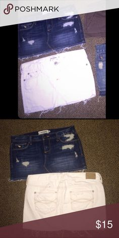Abercrombie Kids Denim Skirts Dark wash denim skirt, and a White denim skirt. Both are Abercrombie Kids size 14. they should fit a size 1 or 2, and measure between 25 & 26 waist. Never been worn❗️ NWOT abercrombie kids Skirts