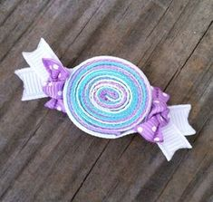 Candy Hair Clip, Lavender and Aqua Ribbon Candy Hair Clip, Toddler Hair Clip, Sweet Shoppe Birthday Party Favors, Girls Hair BowsCandy Ribbon Sculpture This looks cute but the amount of ribbon used makes it heavy and it doesn't stay in hair well beca Ribbon Hair Clips, Hair Ribbons, Ribbon Art, Diy Hair Bows, Ribbon Crafts, Ribbon Bows, Ribbon Candy, Pink Candy, Candy Colors