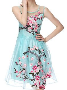Blue Organza Embroidered Wintersweet Sleeveless A Line Dress
