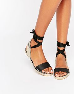 Image 1 ofNew Look Espadrille Tie Up Flat Sandal