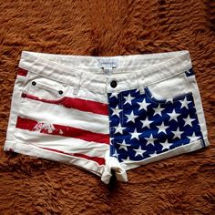 Of July Outfits for Womens: American Flag Star Stripe Beach Mini Short Hot Pants - Clothing Cute Country Outfits, Cool Outfits, Lake Outfits, Mini Shorts, Summer Shorts, 4th Of July Outfits, Summer Outfits, Diy Clothes And Shoes, American Flag Shorts