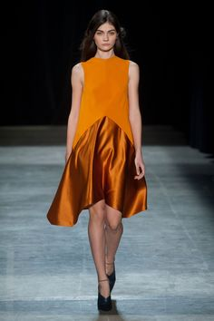 Narciso Rodriguez Fall 2013 Runway.the A-line trapeze style first made its appearance during the 1954-1960 period. The style shows the consisting of dresses that flared outward from fitted shoulders. Narciso Rodriguez brought the trapeze style back to life with the use of lighter, and shimmering fabric.3/27/2015