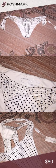 NWT Frankie's Bikini bottoms NWT. Black and white polka dots. Ties on side. Frankie's Bikinis Swim Bikinis