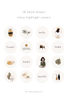 20 Boho Instagram Highlight Icons, Earthy Neutral