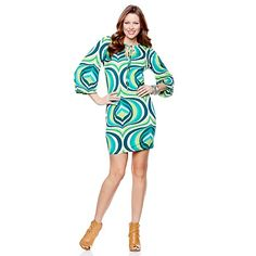 Nikki Poulos Printed Jersey Short Dress with Tie