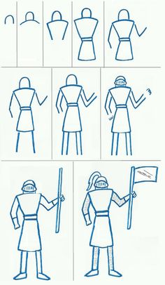Art Class Ideas: Easy Knight to Draw Cc Drawing, Knight Drawing, Knight Art, Drawing Lessons, Drawing For Kids, Art Lessons, Art For Kids, Art Handouts, Directed Drawing