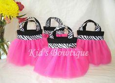 purple divas party | Set of 15 Pink Diva Zebra Party Favor Tutu Bags - Birthday Gift Bags