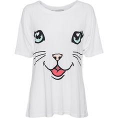 WILDFOX Happy Cat Clean White // Jersey t-shirt with print (12.635 ISK) ❤ liked on Polyvore featuring tops, t-shirts, white tee, oversized t shirt, crew neck t shirt, oversized white t shirt and wildfox t shirts