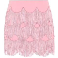 Marc Jacobs Fringe Miniskirt (€720) ❤ liked on Polyvore featuring skirts, mini skirts, pink, short pink skirt, pink fringe skirt, fringe mini skirts and short skirts