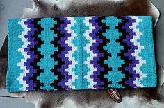 Wool Western Show Trail Horse SADDLE BLANKET Rodeo Pad Purple Turquoise 41086