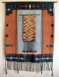 """DONNA FOLEY - FOUR DIRECTIONS WEAVING - Tracks in the Canyon II  28"""" x 35""""  $950 I love the tapestry within a tapestry!"""