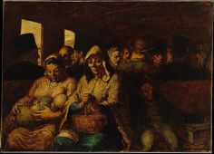 Honoré Daumier (French, 1808–1879). The Third-Class Carriage, ca. 1862–64. The Metropolitan Museum of Art, New York. H. O. Havemeyer Collection, Bequest of Mrs. H. O. Havemeyer, 1929 (29.100.129) | As a graphic artist and painter, Daumier chronicled the impact of industrialization on modern urban life in mid-nineteenth-century Paris. Here, bathed in light, the nursing mother, elderly woman, and sleeping boy emanate a serenity not often associated with public transport. #paris