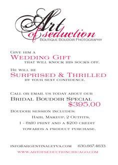 $395.00 Bridal boudoir session . Chicago Boutique Boudoir studio.