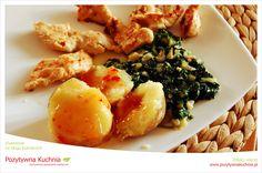 Grillowana pierś z indyka z ziemniakami i szpinakiem - #przepis na #obiad z #indyk.iem  http://pozytywnakuchnia.pl/grillowany-indyk-ze-szpinakiem-i-ziemniakami/  #kuchnia #szpinak
