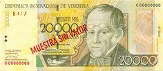 Pieza bbcv20000bs-ba03s (Anverso). Billete del Banco Central de Venezuela. 20000 Bolívares. Diseño B, Tipo A. Fecha Mayo 25 2004. Serie C8. Billete tipo specimen