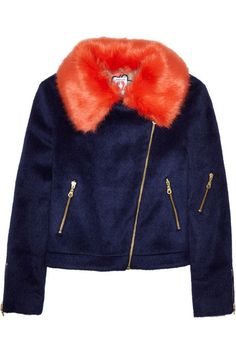 I love the name of this designer almost as much as I love this ab-fab jacket: Agnes faux fur-trimmed brushed-felt biker jacket by Shrimps.