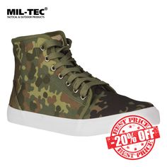 20% off Mil-Tec Army Sneakers in Flecktarn camouflage. Was £24.95, Now £19.96. Save £4.99! For a limited time only. Lightweight and sturdy, Mil-Tec Army Sneakers are camouflage high-tops with robust Ripstop upper and white rubber outsole. Find out more at Military 1st online store. Free UK delivery and returns! Competitive overseas shipping rates.